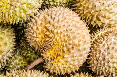 Durians fruits in the market, Thai style fruit, Thailand photo