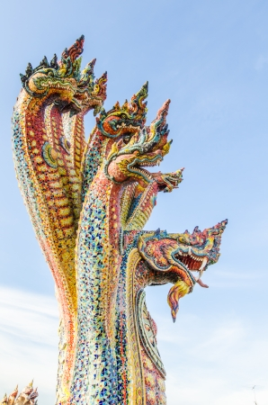 naga china: Naga statue with blue sky, Thailand
