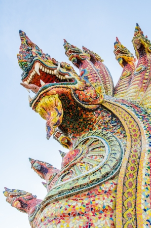 naga china: Naga statue with blue sky, Thailand