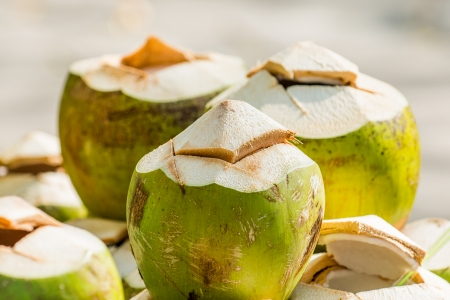 Coconuts at Thai market, Thailand