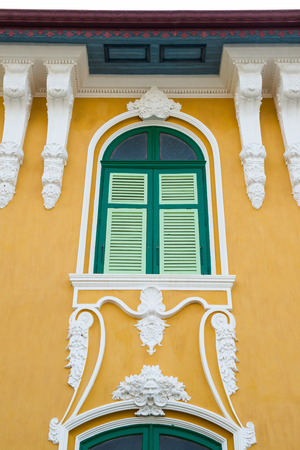 phraya: Beautiful window of Phraya Abhaibhubate building at Prachinburi province, Thailand Stock Photo