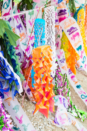 Lanna flag for Songkran festival, Thai northern tradition, Thailand