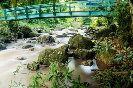 Nang Rong Waterfall with Green Bridge, Thailand photo