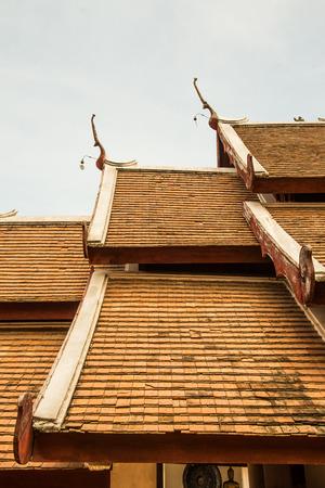 Roof of Lanna Thai style church at Lai Hin Kaeo Chang Yuen temple, Thailand photo