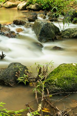 nang: Beautiful water flowing at Nang Rong Waterfall, Thailand Stock Photo