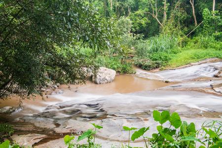sa: Water flowing at Mae Sa Waterfall, Thailand Stock Photo