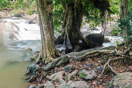 nang: Beautiful water flowing with rock at Nang Rong Waterfall, Thailand Stock Photo