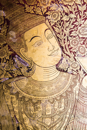 Thai style painting art on wall at the temple, Thailand photo