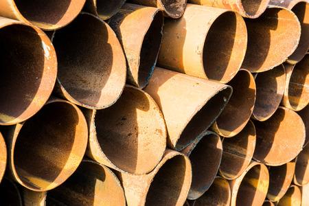 deconstruct: Steel pile background, Thailand Stock Photo