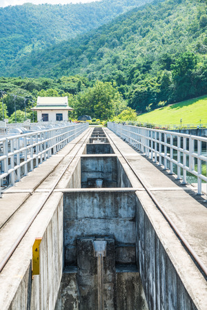 lang: Walk Way on Water Gate at Mae Ping Ton Lang Dam, Thailand. Stock Photo