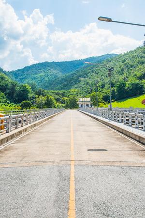 ton: Road on Mae Ping Ton Lang Dam, Thailand.