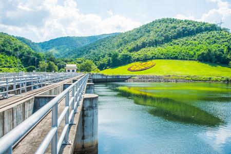 ton: Walk Way on Water Gate at Mae Ping Ton Lang Dam, Thailand. Stock Photo