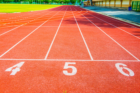 running track: Running track with number, Thailand. Stock Photo