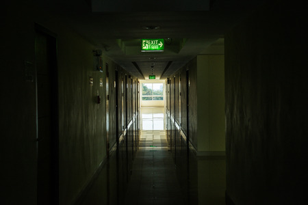 Corridor with light at window, Thailand. photo