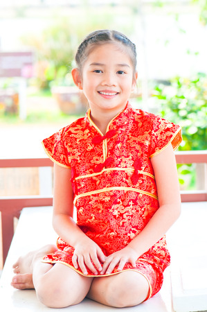 oriental girl: Portrait of oriental girl in Chinese style dress, Thailand.