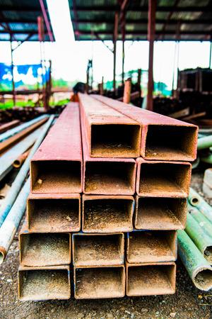 rectangular: Rectangular steel pipe with rust, Thailand