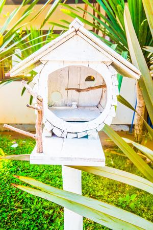white bird: White bird house in the garden, Thailand