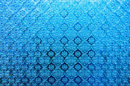 абстрактный: Текстура голубой стеклянной панели, Таиланд.