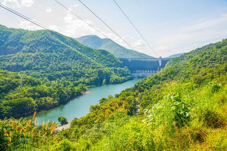 bhumibol: Landscape of Bhumibol Dam, Thailand. Stock Photo