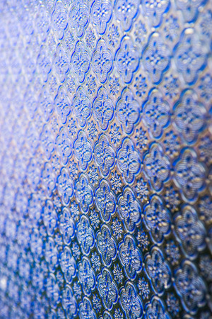 glass panel: Texture of violet glass panel, Thailand. Stock Photo