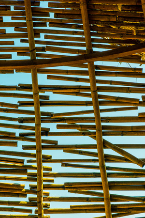grating: Bamboo grating with blue sky, Thailand.