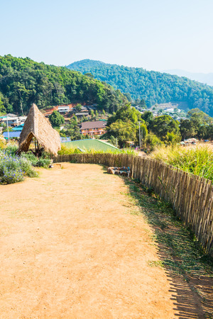 Bamboo fence with soil walkway on Mon Jam hilltop at Chiangmai province, Thailand. photo