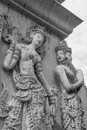 lanna: Thai Lanna molding art on the wall, Thailand Stock Photo
