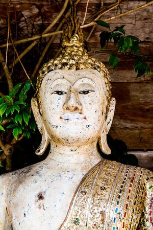 thai temple: Ancient white buddha in Thai temple, Thailand.