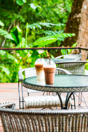 Ice Latte Coffee and Ice Chocolate in Plastic Glass, Thailand. Reklamní fotografie