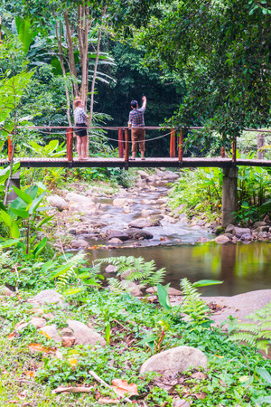 wooden bridge: Small canal with wooden bridge in country, Thailand. Stock Photo
