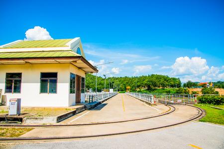 lang: Rail Way and Site Office on Mae Ping Ton Lang Dam, Thailand. Stock Photo