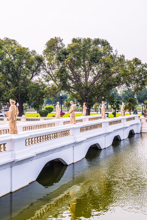 bang: Old bridge at Bang Pa-In Palace, Thailand. Stock Photo