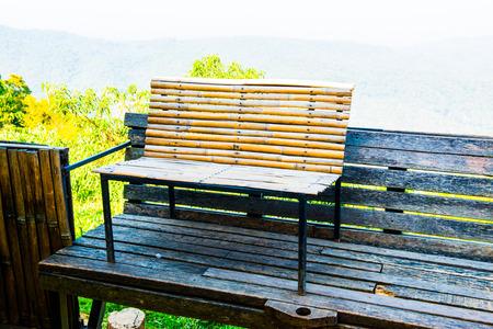 thailand bamboo: Bamboo bench on mountain, Thailand.