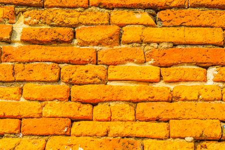 ancient brick wall: Background of ancient brick wall, Thailand Stock Photo