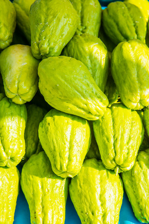 chayote: Background of Chayote fruits, Thailand. Stock Photo
