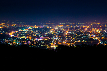 Night view of Chiangmai province,Thailand. Stock Photo