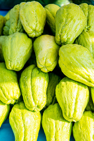 chayote: Background of Chayote fruits, Thailand. Archivio Fotografico