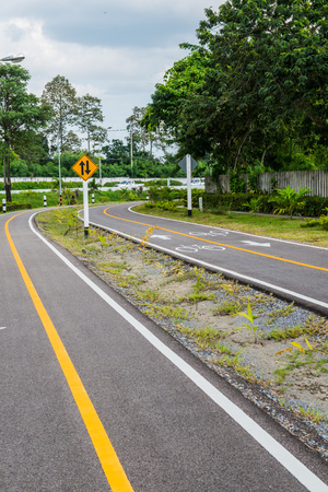 bicycle lane: Bicycle lane in Chiangmai city, Thailand. Stock Photo