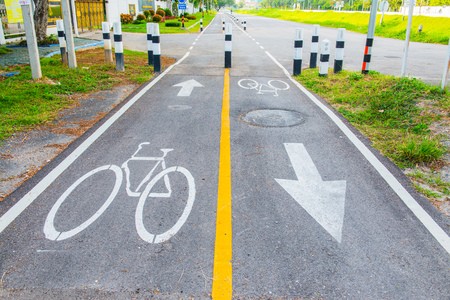 bicycle lane: Bicycle lane in Thai, Thailand.
