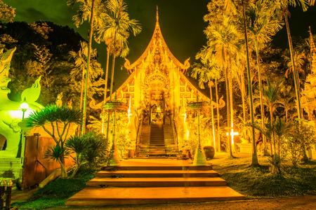 vihara: The Grand Vihara of Darabhirom Forest Monastery in Twilight Time, Thailand.