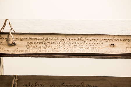 the scriptures: Ancient Buddhist Scriptures, Thailand. Stock Photo