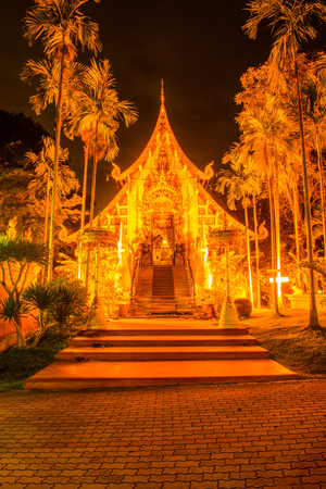 architectural tradition: The Grand Vihara of Darabhirom Forest Monastery in Twilight Time, Thailand.