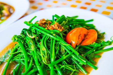soya bean: Stir-Fried Sayate Wish Salted Soya Bean, Thai Style Food, Thailand.