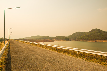 chon: Road on Mae Ngat Somboon Chon dam, Thailand