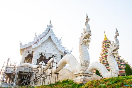 huay: White church under construction at Huay Plakang temple, Thailand
