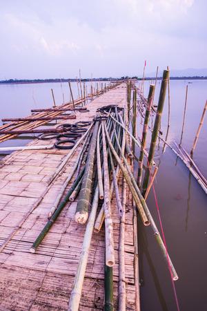floating bridge: Bamboo bridge on the lake, Thailand Stock Photo