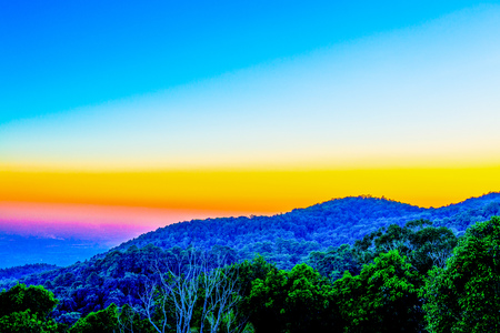 chiangmai province: Mountain Silhouette with Sunset Time at Chiangmai Province, Thailand.