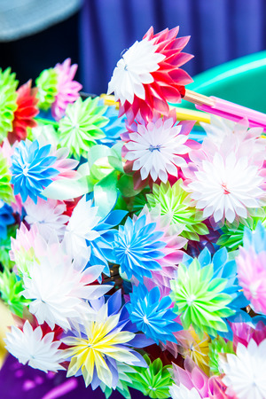 plastic made: Colorful flowers made from plastic tube, Thailand Stock Photo