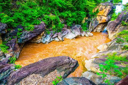 thailand flood: Flash flood flowing in Ob Luang national park, Thailand.