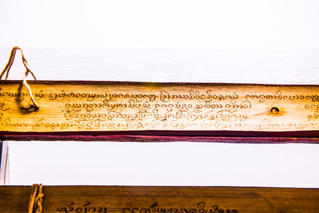 scriptures: Ancient Buddhist Scriptures, Thailand. Stock Photo